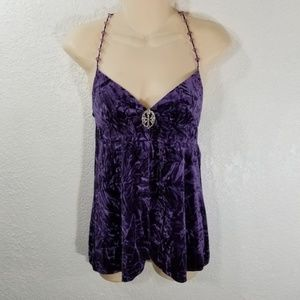 Victorias Secret Silk Nighty Purple Velour XS VS2